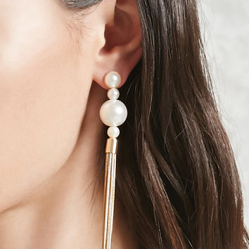 Faux Pearl Tassel Drop Earrings