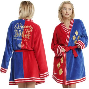 Licensed cool Suicide Squad Harley Quinn Property of Joker Plush Robe Bathrobe S/M or L/XL NEW