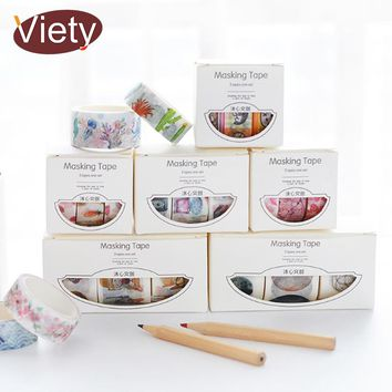 3Pcs/Box 2-3cm*5m Fresh Pattern Floral washi tape DIY decoration scrapbooking Planner masking tape adhesive kawaii stationery