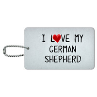 I Love My German Shepherd Written on Paper ID Card Luggage Tag