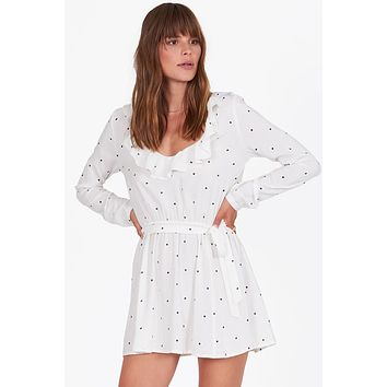 Last Hurrah Ruffle Dress - Casa Blanca Polka Dot Print