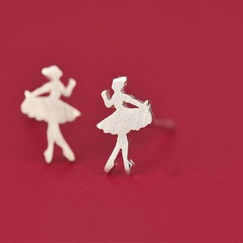 Elegant 925 Sterling Silver Jewelry Cute Ballet Girl Earrings for Women J117 Gift 111901