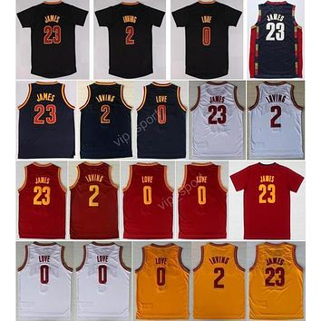Hot Sale 2 Kyrie Irving Basketball Jerseys Men Throwback 23 Lebron James 0 Kevin Love Jersey Sport All Stitched Red White Yellow Navy Blue