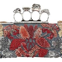 Alexander McQueen Knuckle Duster Box Floral Embroidery 229282k0n5i Denim Clutch 57% off retail