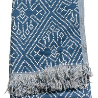 Patterned blanket - Dark blue/Natural white - Home All | H&M GB