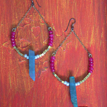 Long chandelier earrings, blue quartz points, hot pink agate, gold and silver beads