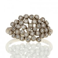 Noguchi Bijoux | White Diamond Large Cluster 14k White Gold Ring at Voiage Jewelry
