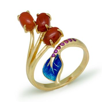 Enamel Blue Flower Natural Red Agate 925 Sterling Silver Adjustable Yellow Ring