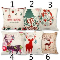 45x45cm Pillow Case Christmas Decorations For Home Santa Clause Christmas Deer Cotton Linen Cushion Cover Home Decor 171122