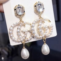 GUCCI Women Fashion New Gem More Pearl Long Earring Jewellery