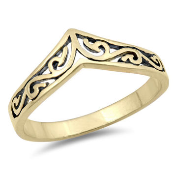 Sterling Silver Women's Ring Yellow Gold-Toned Filigree Tiara 8MM