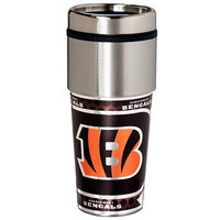Cincinnati Bengals 16  oz. Stainless Steel Travel Tumbler Metallic Graphics
