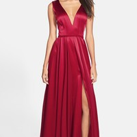 Halston Heritage Satin Fit & Flare Gown