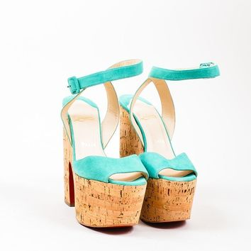 DCCK Teal Christian Louboutin Suede Cork  Super Dombasle  Sandals