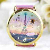 Lovely Princess Eiffel Tower Polymer Clay Watch