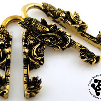 Pair of Demon Brass Ear Weights by Oracle Body Jewelry - Tulsa Body Jewelry