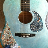 CLEARANCE- Hand painted and embellished acoustic guitar