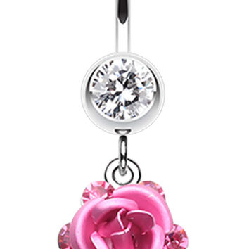 Rose Glass-Gems Cluster Belly Button Ring
