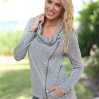 Heather Gray Jacket with Side Zipper