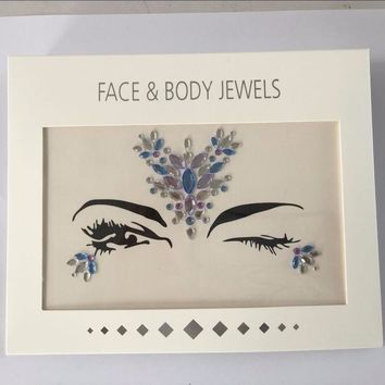 Acrylic Resin Drill Stick Bindi Sticker Handpicked Bohemia And Tribal Style Face And Eye Jewels Forehead Stage Decor Sticker