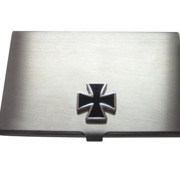 Black Square Cross Business Card Holder