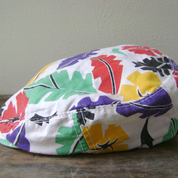 80s Tropical Print Newsboy Cap Vintage Cotton Bright Color Mens Womens Hat Snap Back 1980s Retro Leaf Pattern Hipster Caps Hats Accessory