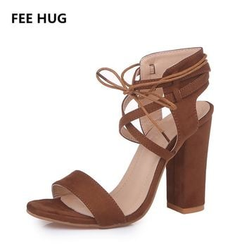 FEE HUG Sexy Gladiator High Heels Sandas Woman Bandage Lace Up Square Heeled Sandals Women's Summer Shoes Wedding Party Shoes
