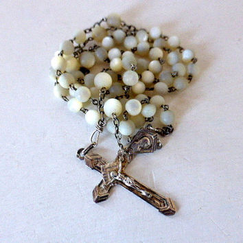 Antique French, Mother Of Pearl, Art Deco, Silver Rosary, SHIPPING INCLUDED