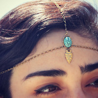arrowhead chain head piece with turquoise