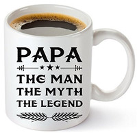 Muggies Papa Mug - Gift For Dad And Grandpa! Coffee Tea 11oz Cup. Unique Gifts For Men & Husband! Christmas, Birthday, Father's Day - Papa The Man The Myth The Legend! + Woodworking  By Muggies