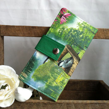 Women's Handmade bifold wallet in Bird nature print with green contrast, credit card slots bill slots coin pouch