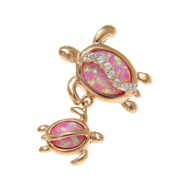925 SILVER ROSE GOLD INLAY PINK OPAL MOTHER BABY HAWAIIAN HONU TURTLE PENDANT CZ