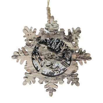 "6"" Nature's Luxury Pre-Lit Snowflake with Bird Christmas Ornament - Warm White Light"