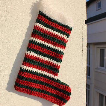 Crocheted Christmas Stocking Knit Christmas Stocking Striped stocking Ready to ship Stockings