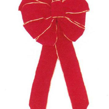 "Medium 10"" x 22"" Red Indoor Velveteen 10 Loop Christmas Bow with Gold Trim"