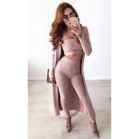 Couple Goals Pink Strapless Faux Suede Crop Top Legging Outerwear Two Piece Set