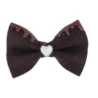 Chocolate Brown Fairy Kei Melty Icing Dip Felt Hair Bow with Chocolate Frosting & White Heart