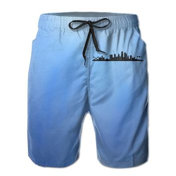Los Angeles City Skyline Silhouette Mens Fashion Casual Beach Shorts