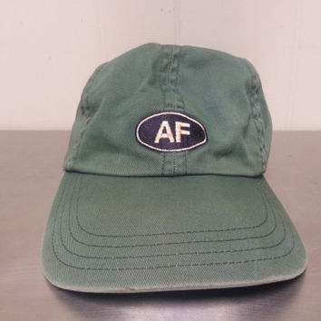 Vintage 90's Abercrombie and Fitch Green Leather Strap Back Dad Hat Made In USA Retro Hipster Style