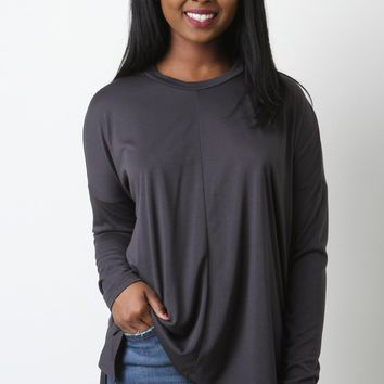 Jersey Knit Long Sleeve High Low Top