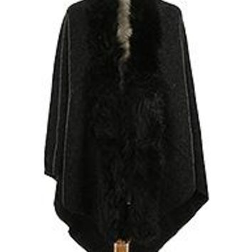 FAUX FUR TRIMMED BLACK TRIANGULAR Shawl Poncho Wrap SCARF