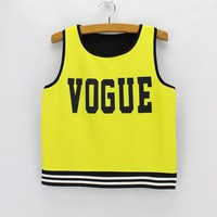 "Bright""Vogue"" Tank Crop Top for Women One Size"