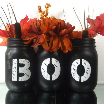 BOO, set of three, Hand Painted Mason Jars - Rustic, Style Home Decor | Halloween Themed Painted Mason Jars