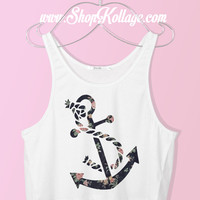 Floral Anchor Crop Tank Top