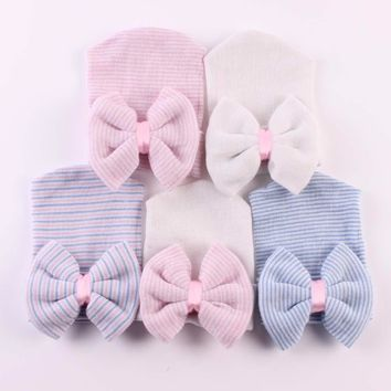 Puseky 1 PC Cute Baby Hat Infant Toddler Warm Winter Autumn Newborn Striped Caps Hospital Hats Soft Beanies Bow Hats 0-6M