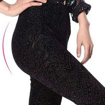 PEAPON Hot Sale Women Lace Leggings Hollow Carved Peach Heart Gold Velvet Jeggings Sexy High Elastic Through Skin Legging New Arrival
