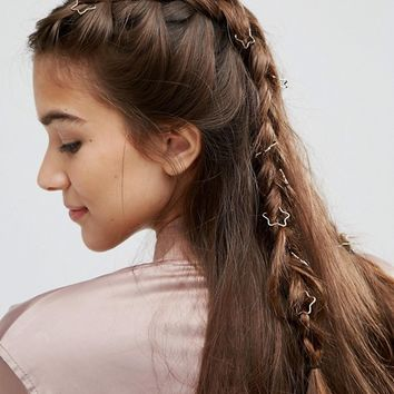 ASOS Pack of 20 Star Hair Rings at asos.com
