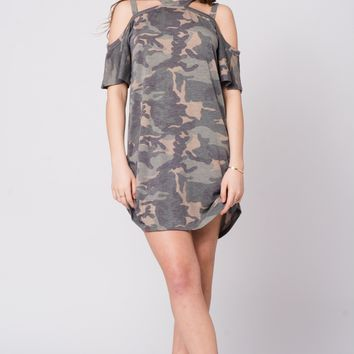 Double strap T-shirt cold shoulder dress - Sage Camo