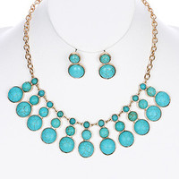Turquoise Stone Circles Bib Necklace Set