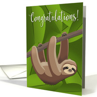 Sloth Hanging from a Tree for Congratulations card